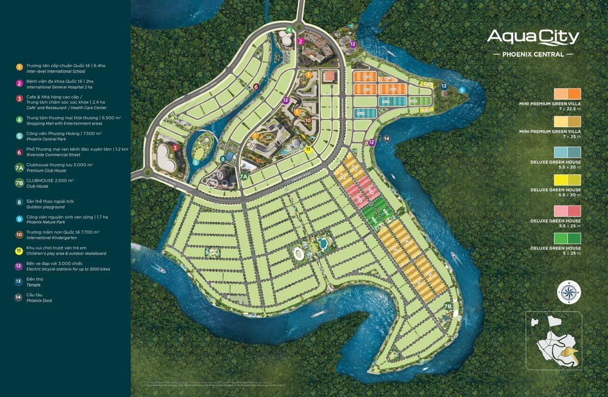 Mặt Bằng Đảo Phượng Hoàng Khu 1 (Phoenix Central) – Aqua City