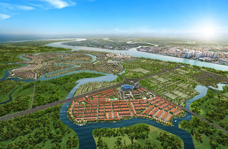 phối cảnh khu valencia trên bản đồ tổng thể aqua city