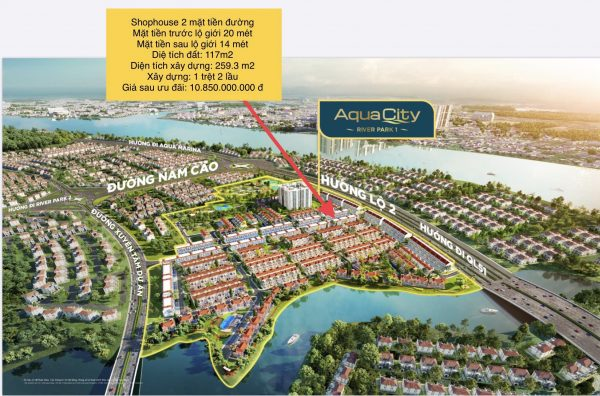 vị trí shop house trên phối cảnh phân khu River Park 1 - Aqua City